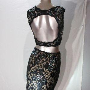2 piece backless black and green jovani dress
